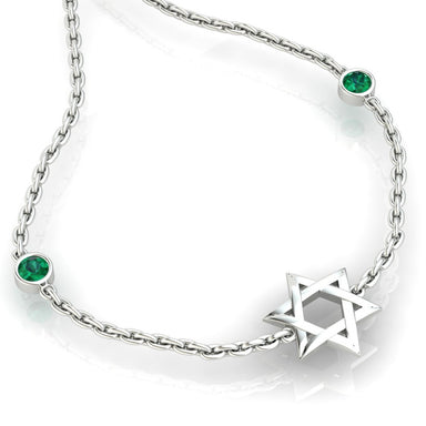 Star of David with Two Natural Gems Gold Bracelet