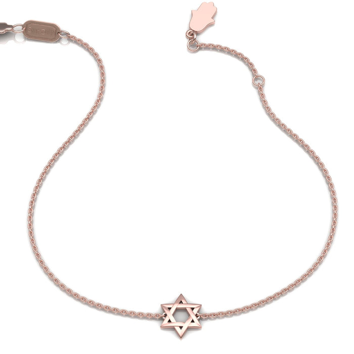Star of David with a Small Hamsa Closer Gold Bracelet