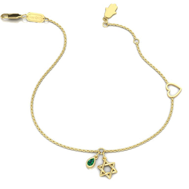 Star of David with a Natural Pear Shape Gem Gold Bracelet