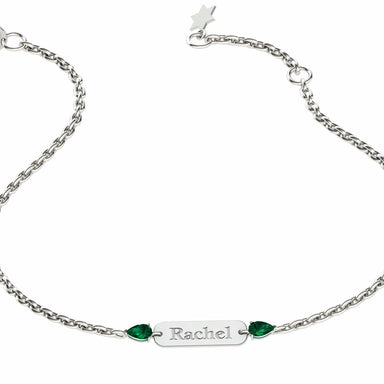 """Rachel"" Engraved Name Bracelet with Natural Gemstones"
