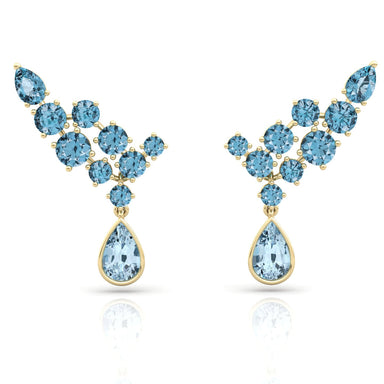 'Blue Wings' Earrings adorned with an Exclusive Natural Aquamarine Gems
