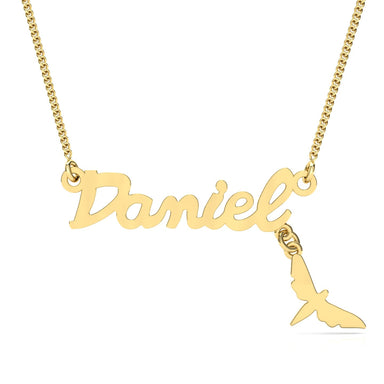 "Name Necklace ""Butterfly"" Gold Pendant"