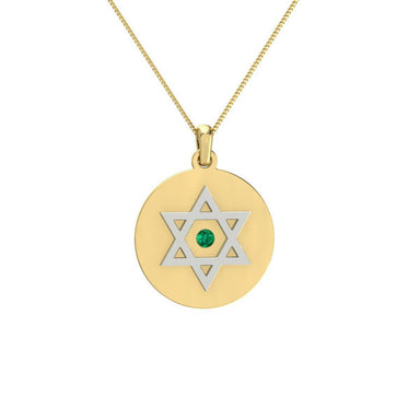Personalized Two Sided Circle Disc with Star of David and Natural Gem Gold Pandent
