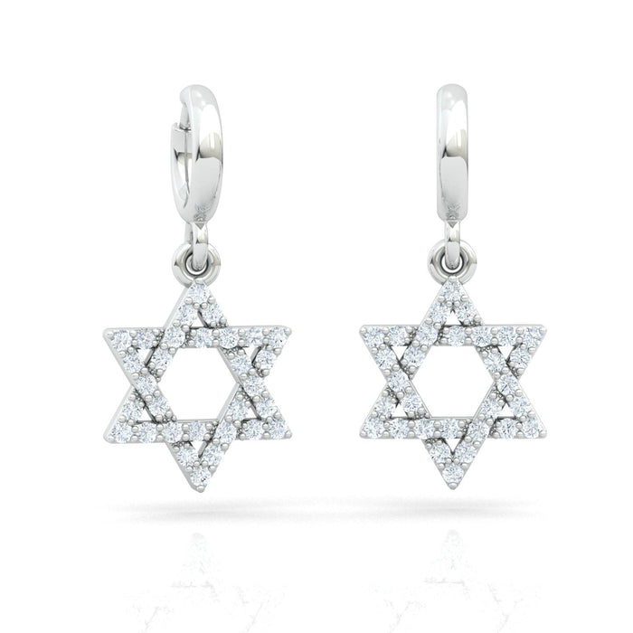 Interwoven Star of David Earrings With Diamonds