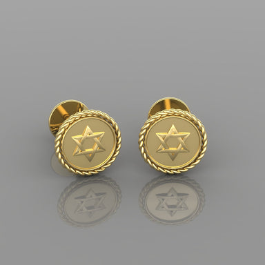 Circled Star of David Gold Earrings