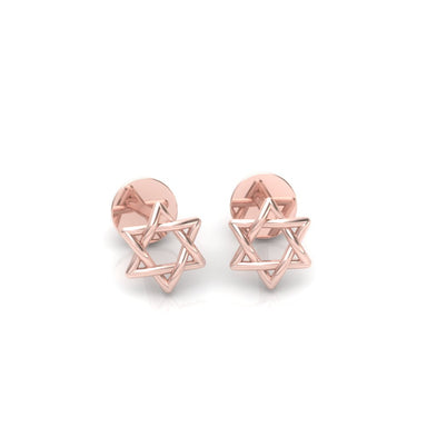 Rounded Interwoven Star of David Gold Earrings