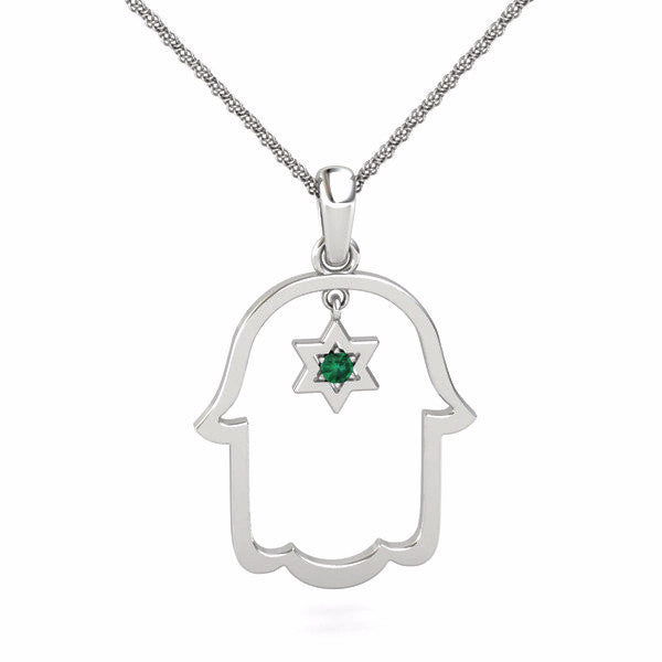 Hamsa with a natural gem and star of david gold pendant star of d hamsa with a natural gem inside a star of david gold pendant aloadofball Gallery