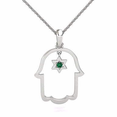 Hamsa with a Natural Gem inside a Star of David Gold Pendant