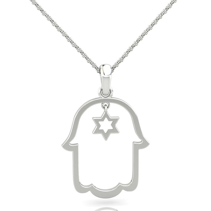 Hamsa with a Small Star of David Gold Pendant