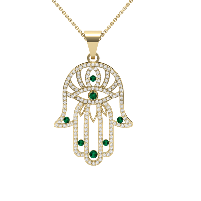Hamsa With Eye - Diamonds & Natural Emeralds