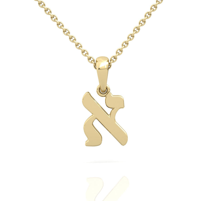 Customized Hebrew Letter Gold Pendant