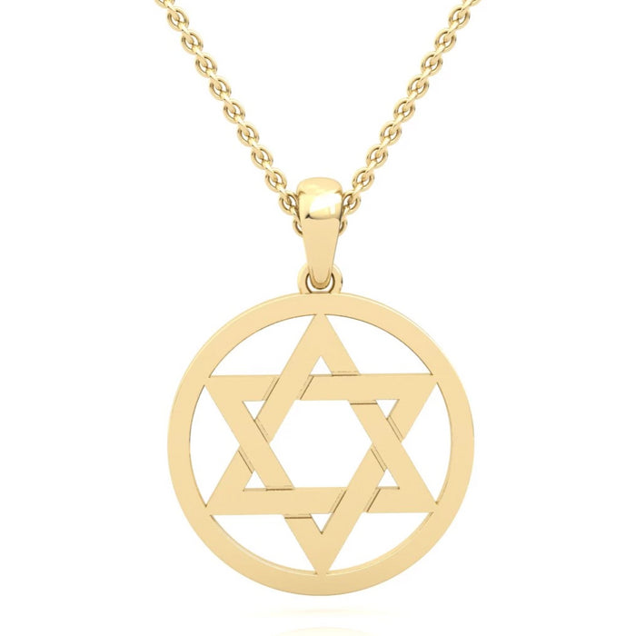 Solid Gold Circled Interwoven Star of David Gold Pendant