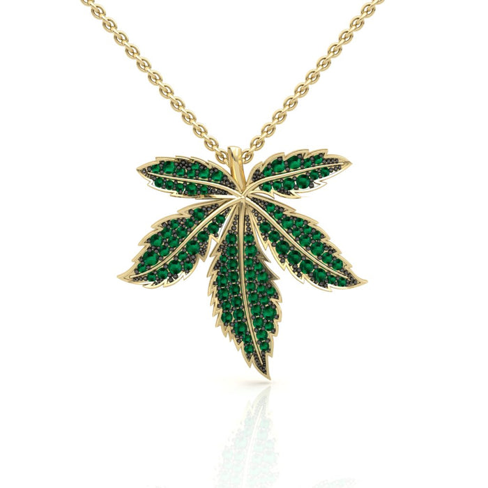 Golden Cannabis Pendant With Natural Emeralds