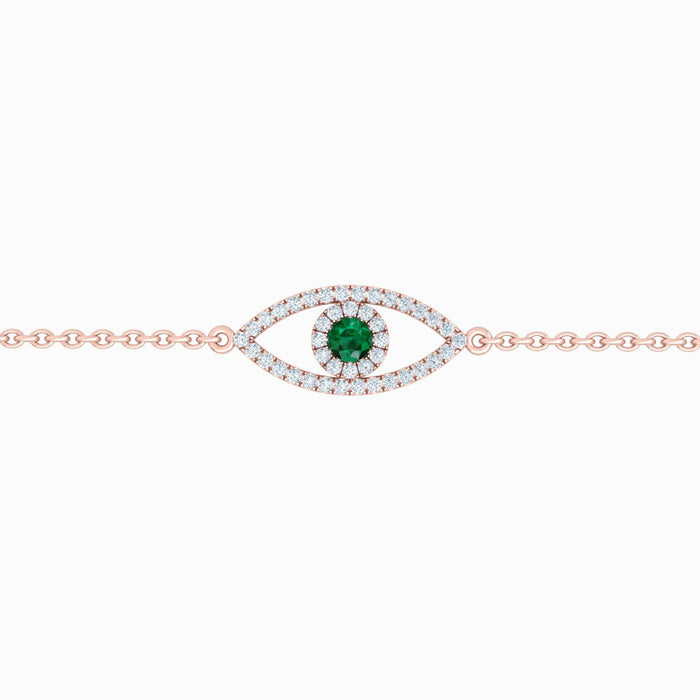 Eye Bracelet with Diamonds And Natural Gem