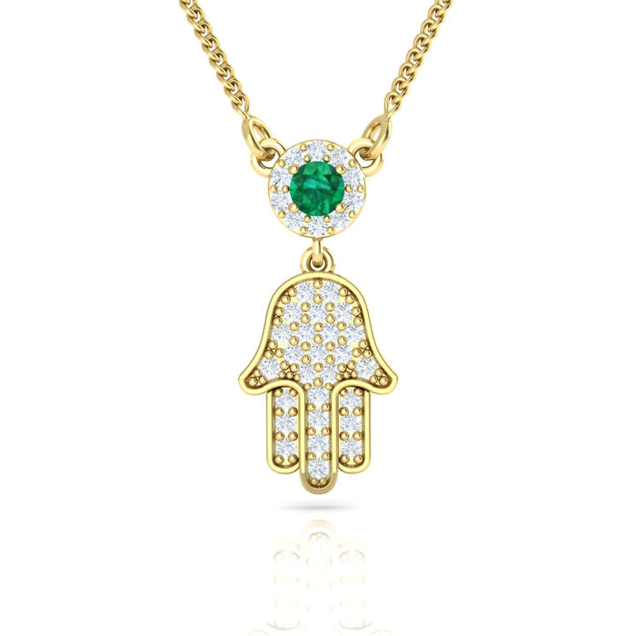 Hamsa with Diamonds and Natural Gemstone Pendant