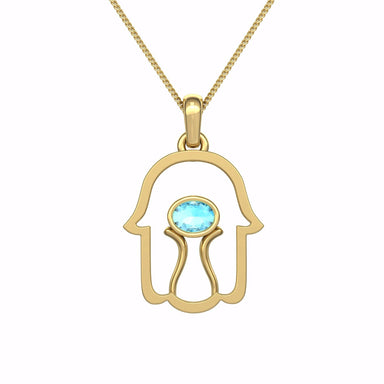 Hamsa with Natural Gem Gold Pendant