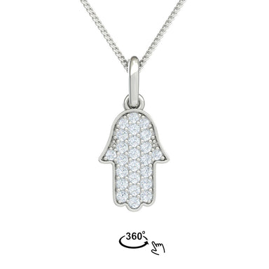Hamsa Gold Pendant with Diamond Pavé
