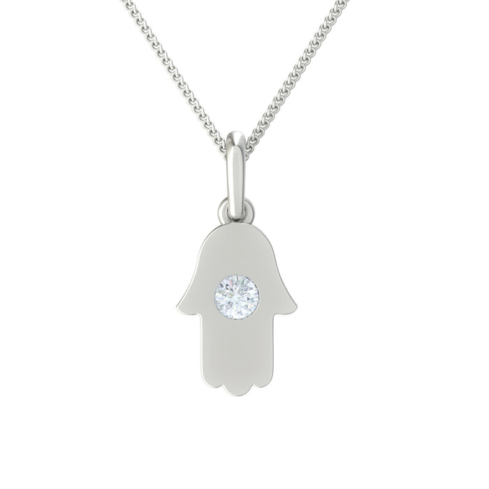 Hamsa with Round Diamond Gold Pendant