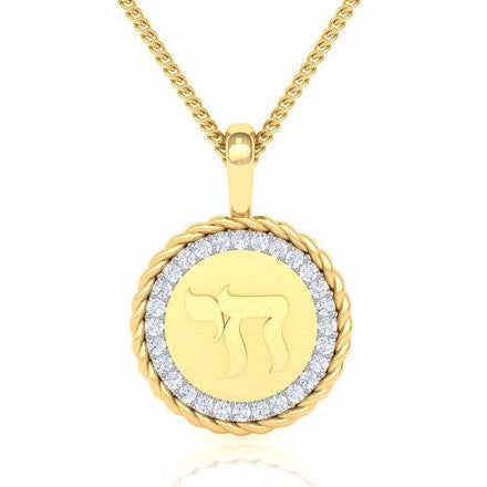 Medallion Adorned With Diamonds And Letters Gold Pendant Star Of D