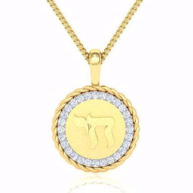 Medallion Adorned with Diamonds and Chai Symbol Gold Pendant
