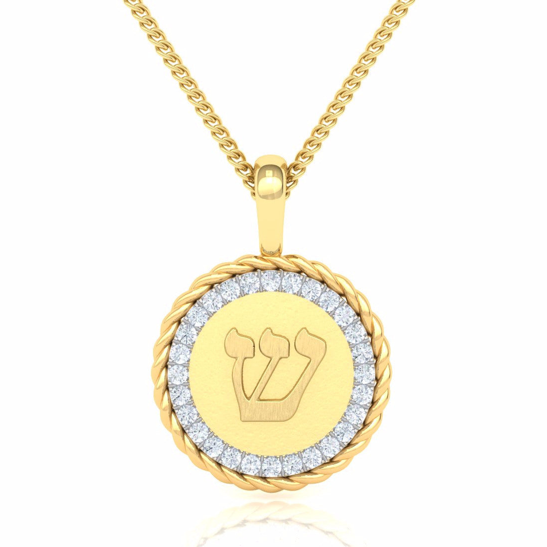 Medallion Adorned With Diamonds And Letters Gold Pendant ...