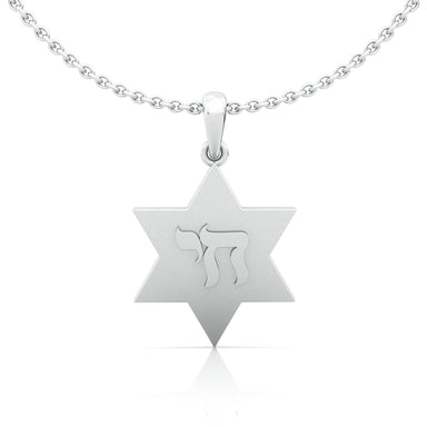 "Star of David with ""Chai"" Symbol Gold Pendant"