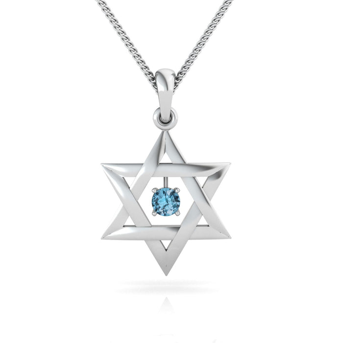 Interwoven Star of David with a Round Natural Gem Gold Pendant