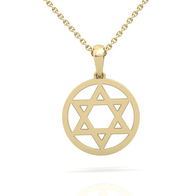 Solid Gold Circled Star of David Gold Pendant