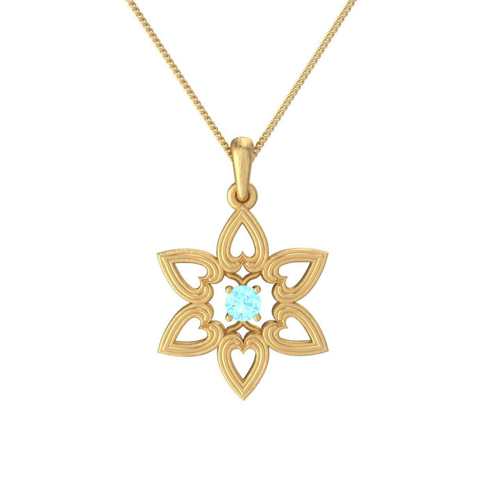 Star of David Hearts Gold Pendant with a Natural Gemstone