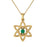 Hearts Star of David with A Natural Gem Gold Pendant