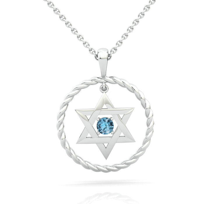 Braided Circle with Star of David and a Gem Gold Pendant