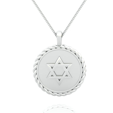 Two Sided Braided Circle Disc with Star of David and Personalized Name Gold Pendant
