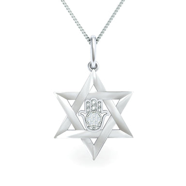 Interwoven Star of David with Hamsa Adorned with Diamonds