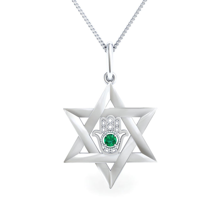 Star of David with Hamsa and Natural Gemstone or Diamond