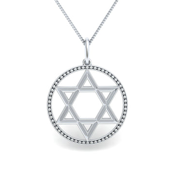 Textured Star of David Gold Pendant
