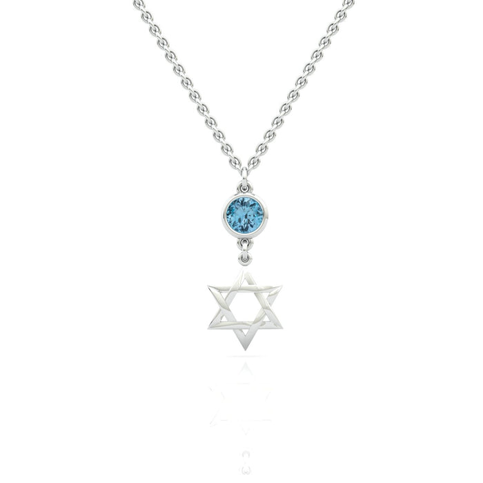 Star of David Pendant with a natural gem on top