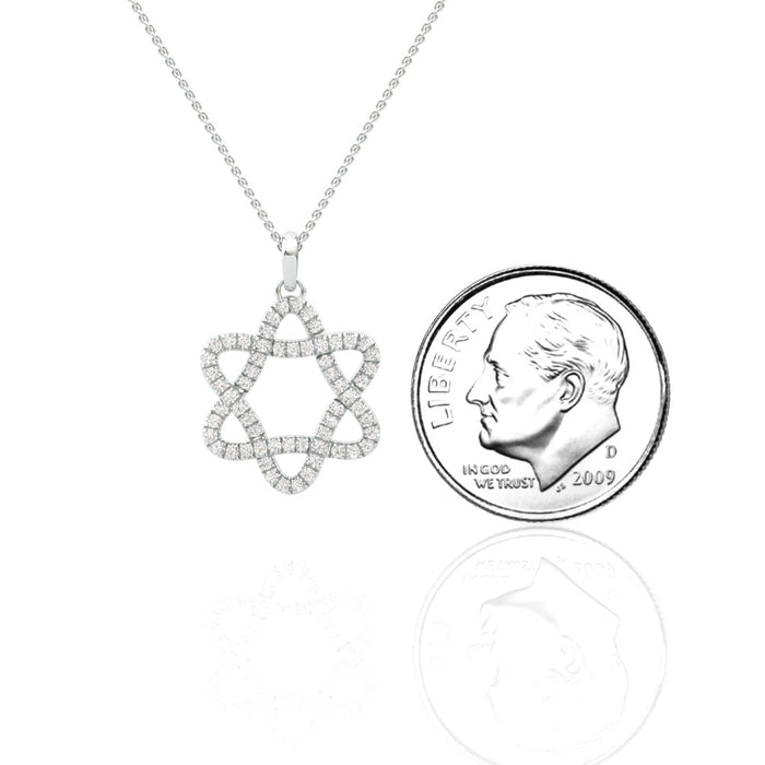 Rounded Star of David Pendant With Diamonds