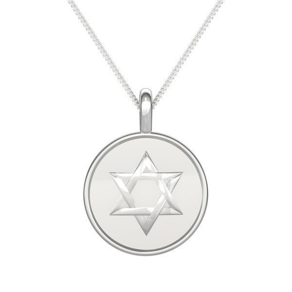Personalized two sided circle disc gold pendant star of d two sided circle disc with star of david and personalized name gold pendant mozeypictures Choice Image