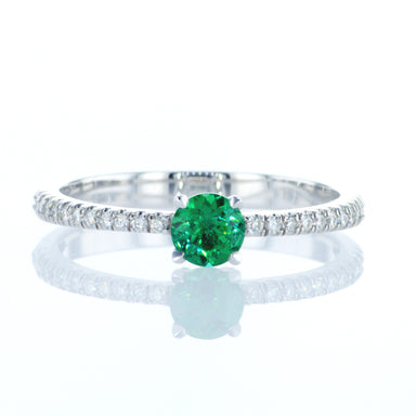 """Emma"" Classic Engagement Ring with round emerald"