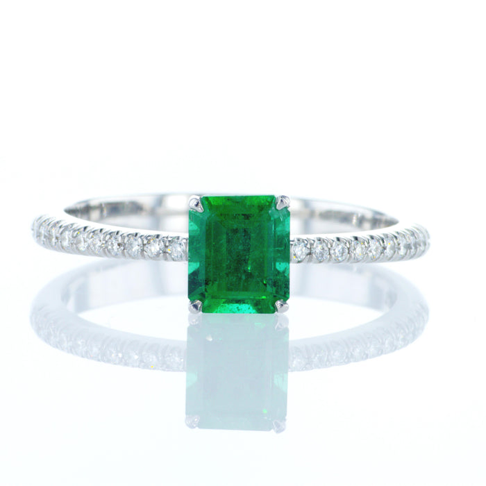 Ring With 0.76ct Natural Emerald