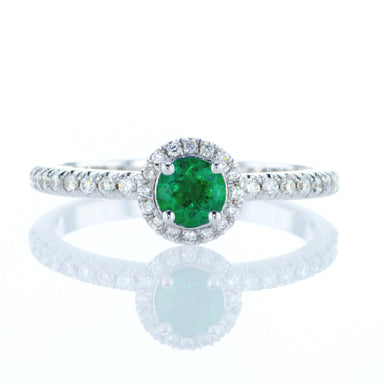 Diamond Halo Ring with round Emerald