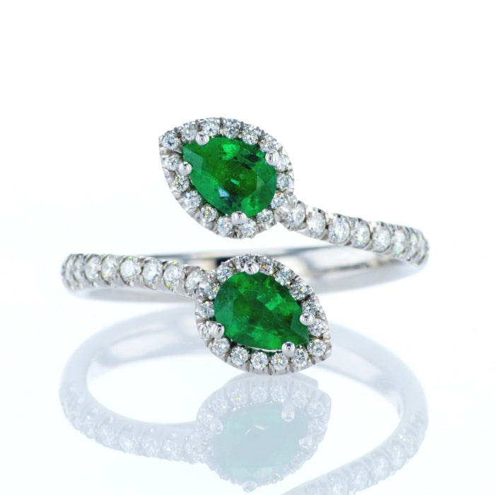 """Jessica"" ring with two pear shape emeralds"