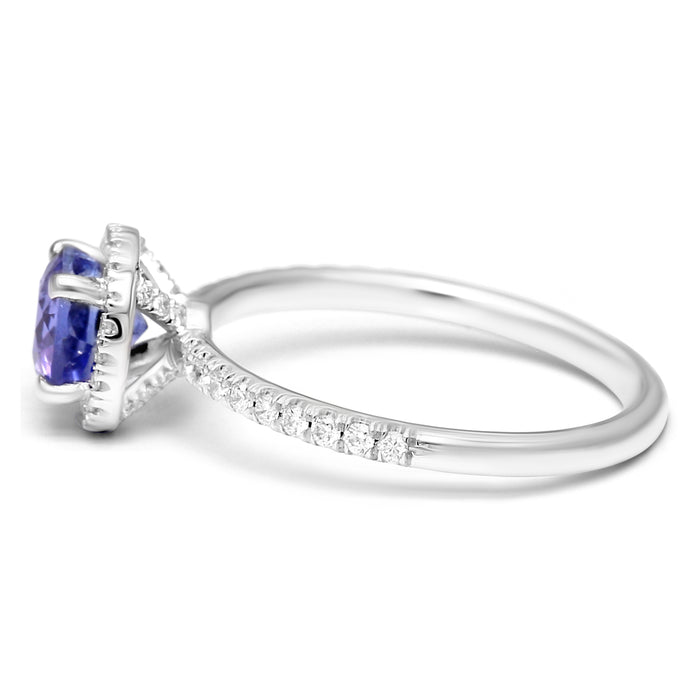Halo Ring set with Round Natural Tanzanite and Diamonds
