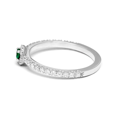 Halo Ring Set with a Round Natural Emerald and Diamonds (0.35ct TW)