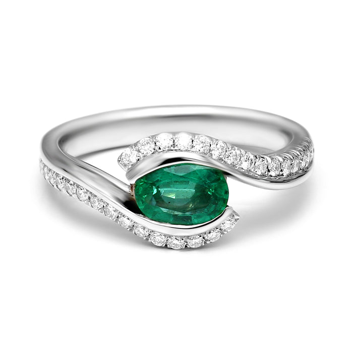 Crossover Ring Set with 0.75ct Natural Oval Emerald and Diamonds
