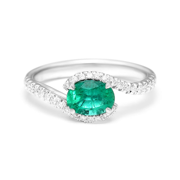 Crossover Ring Set with Natural Oval Emerald and Diamonds