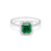 Halo Ring set with a 0.97ct Square Natural Emerald and Diamonds (1.19ct TW)