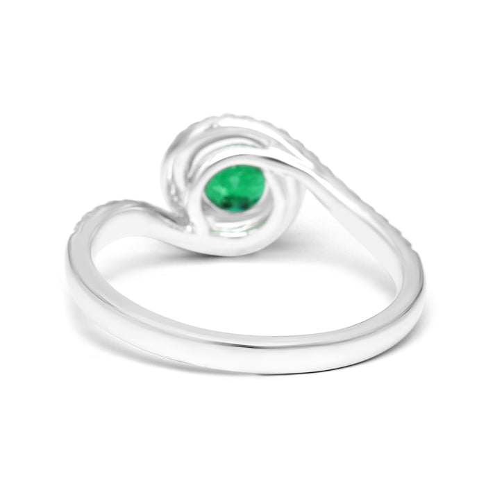Spiral Engagment Ring with a 0.80ct Round Natural Emerald and Diamonds (1.00ct TW)