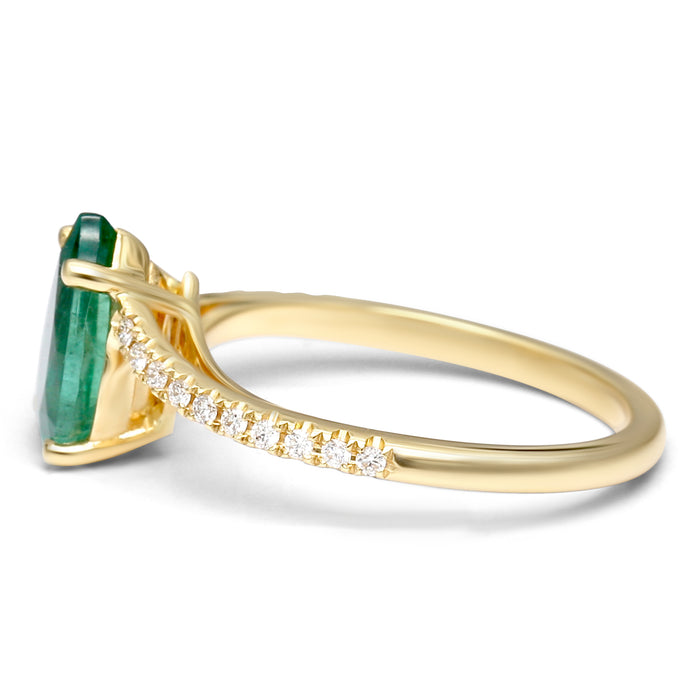 Yellow Gold Ring with Natural Pear Shaped Emerald and Diamonds