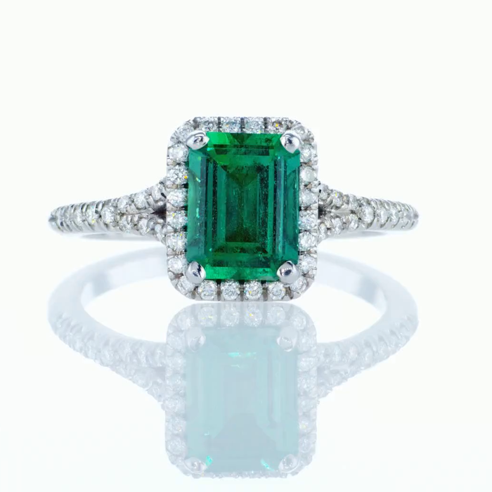 Halo Ring with 1.46ct Natural Emerald